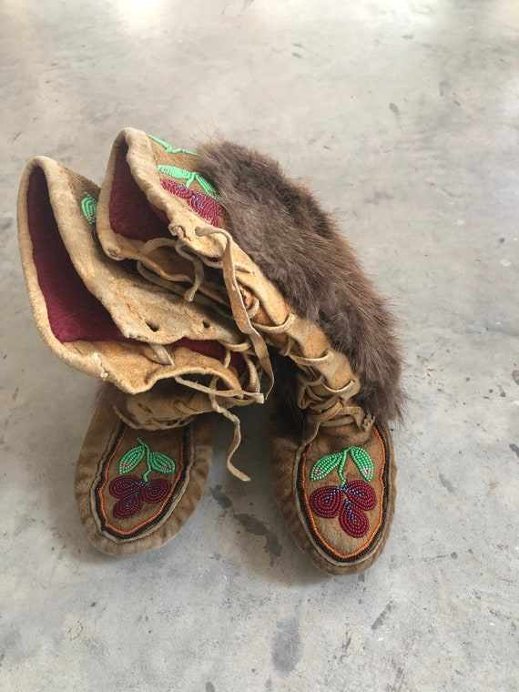 Vintage Children's Mukluks with intricate beadwork