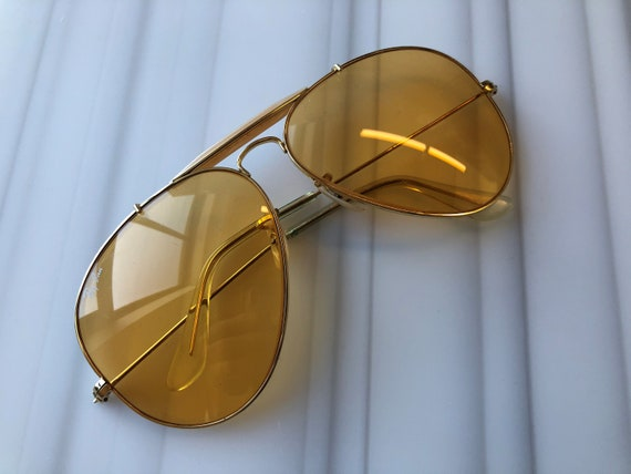 Vintage Ray Ban Aviator Sunglasses - Amber Lenses