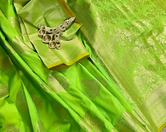 Parrot Green Saree Smooth Embroidered Green Silk Saree Embroidered Silk Sari