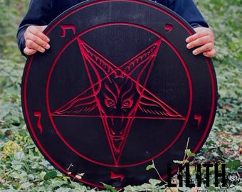 Baphomet Big 25 Inches Bloody Red Wooden Ash Tree Pentacle