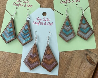 Resin and Wood triangle earrings