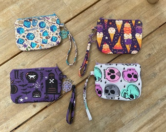 Denim Clutch Purses with wristlet and matching charm