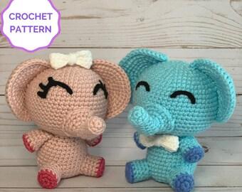 Pink and Blue Elephant Crochet Pattern - Baby Shower Amigurumi (2 Patterns)