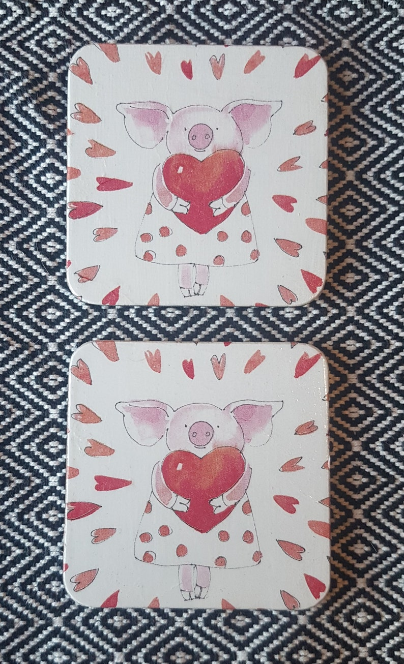 Decoupage Piggy Love Design Square Cork Coaster Pair