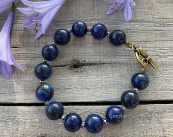 Lapis Lazuli & Pyrite Gemstone Bracelet w/ Antique Gold-Tone Plated Brass Toggle Clasp