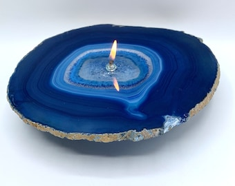 Large Agate Oil Candle | blue agate oil lamp, stone oil candle, oil lamp, unique gift, rock art, stone decor, Found In The Ground Candles