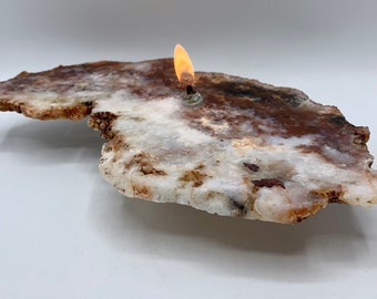 Rough Agate Oil Lamp | Regency Rose Agate Oil Candle | Oil Lamp, Stone Home Decor, Found In The Ground Candles, Centerpieces