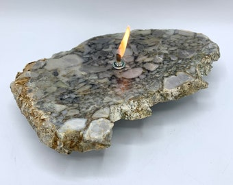 Rock Candle, Interesting Slice of Natural Conglomerate Oil Lamp, Candle Lamp, Rock Candle, Stone Candle, Stone Oil Lamp, Rock Oil Candle