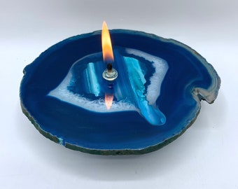 Agate Candle, Teal Agate Oil Lamp,  rock oil candle, stone lamp, handmade candle, Found In The Ground Candles, Unique Gift
