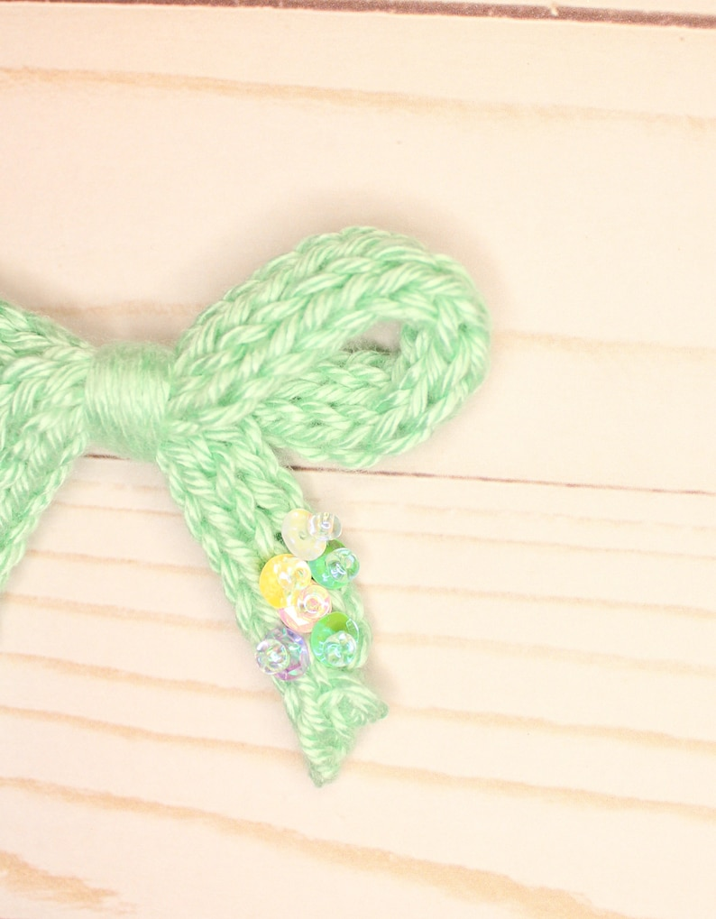Knit Hair Bow on Clip or Headband Girls Sequin Hair Bow Spring Knit Bows with Sequins Hand Stitched Knit Hair Bow Spring Knit Bows