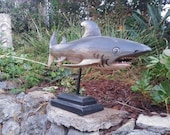 """Nautical Shark Tropical Wood Carving Sculpture 18"""" (on stand)"""