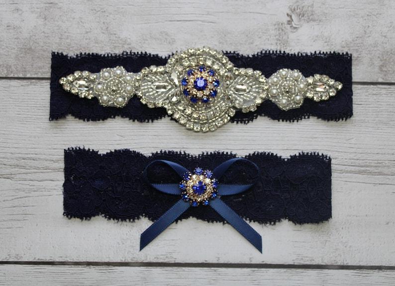 Wedding Garter WS85474 NO SLIP Lace Wedding Garter Bridal Garter Wedding Garter Set Crystal Garter Navy Bridal Garter