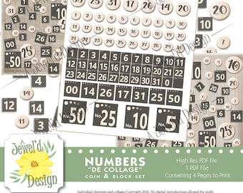 Coin /& Blocks Number de/' Collage