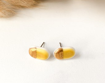 Red porcelain earrings Yellow stud Ceramic dangle porcelain jewelry Yellow earrings Abstract jewelry yellow Oval unique gift long earrings