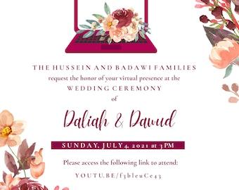 Peach Rose Virtual Wedding Invitation - DIGITAL Floral Evite - Quarantine - Nikkah Walima Reception Ceremony Engagement - Zoom Online