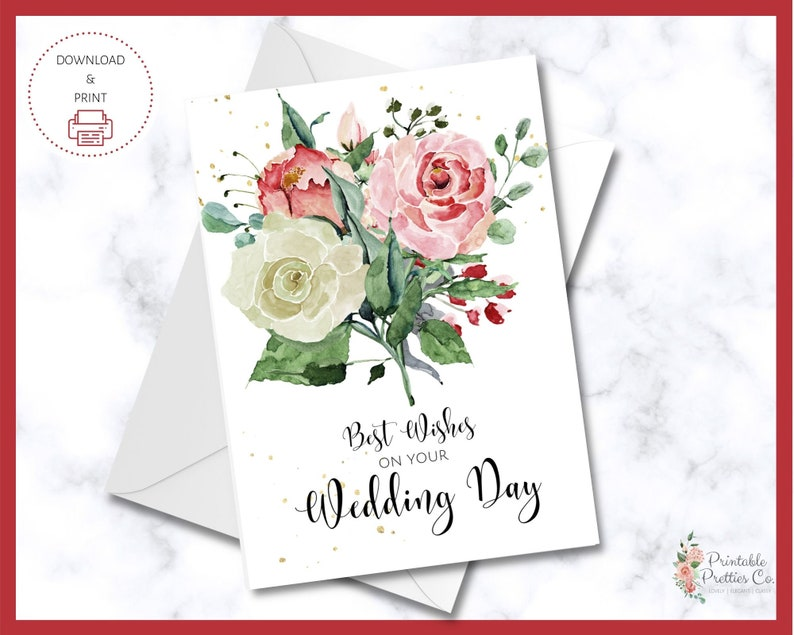 printable congratulations wedding card  best wishes for