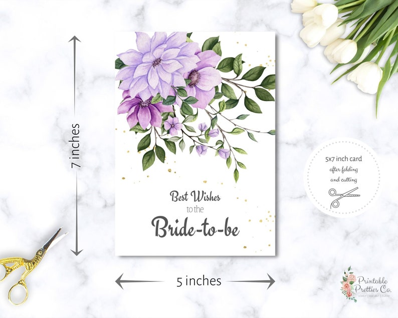 Bridal Shower Congratulations Card Printable  Download Beautiful Bride-to-be Card  Instant Download Wedding Greeting Card  Card for Bride