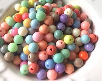 Mixed Pastel Bubblegum Beads-Acrylic Beads-Assorted 8 mm Beads-Gumball Beads-Chunky Plastic Beads