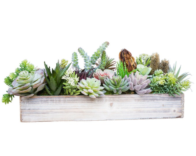 Faux Succulent Wooden Trough
