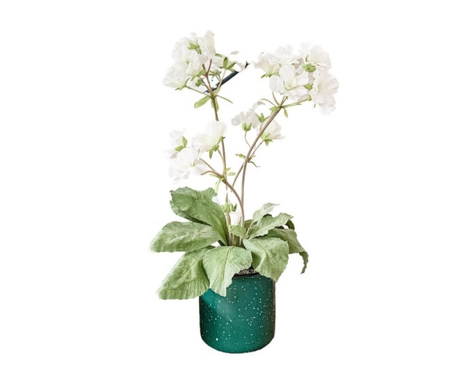 Faux Blooming Primula Plant in White