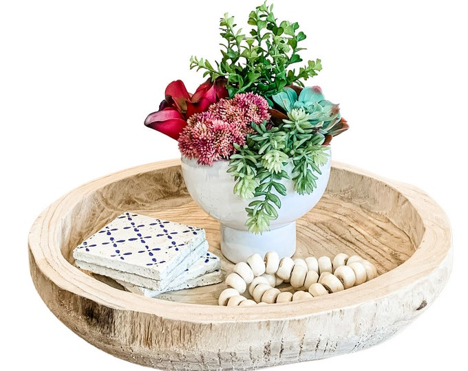 Colorful Succulent Arrangement in a White Compote Bowl