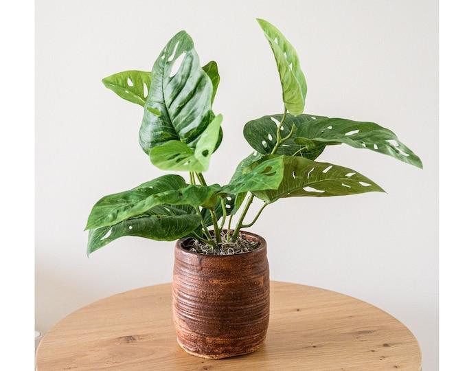 Faux Potted Split Leaf Philodendron Plant