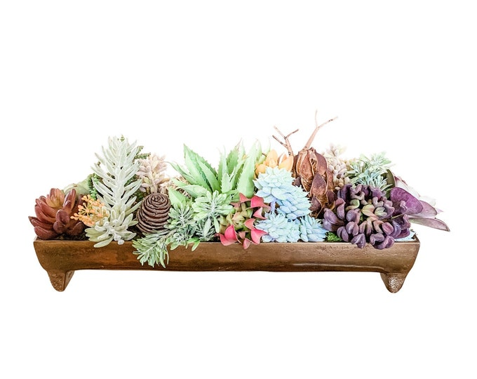 Faux Succulents in Metallic Trough