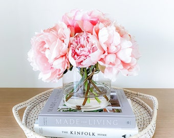 Gorgeous Pink Peony Blooms Arrangement, Clear Glass Cylinder Vase, Set in Water Illusion, Gift