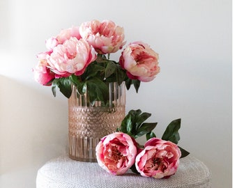 Artificial, Faux Pink Peonies Loose (Not Anchored) with a Soft Matte Pink Embossed Glass Vase