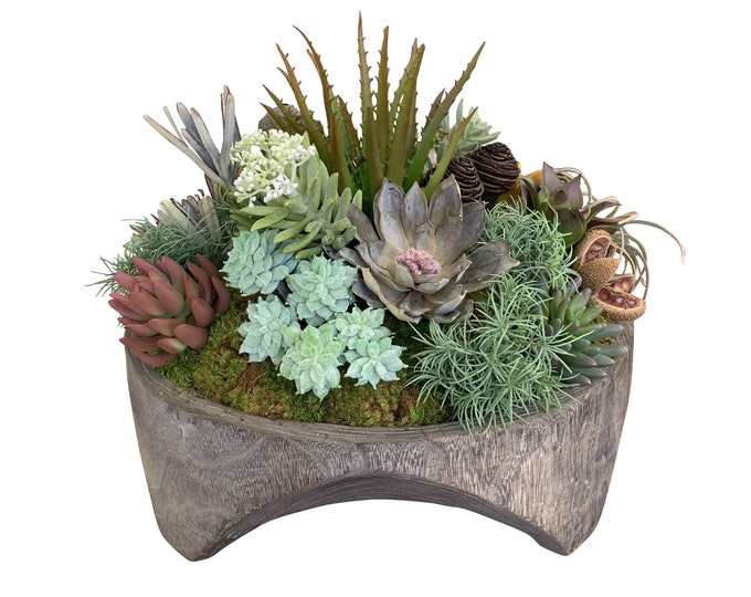 Faux Succulents in a Round Wood Stand