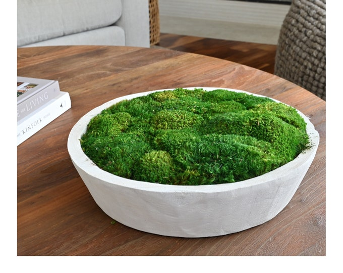 """Decorative Preserved Moss in a 16"""" Round Matte White or Dark Charcoal Wood Bowl"""