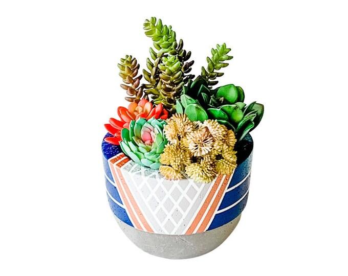 Faux Succulents in Decorative Concrete Planter