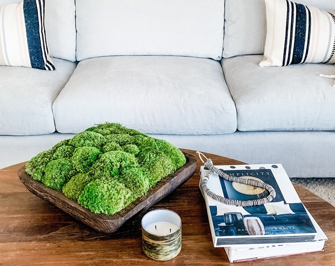 Decorative Preserved Moss in a Wooden Square Bowl