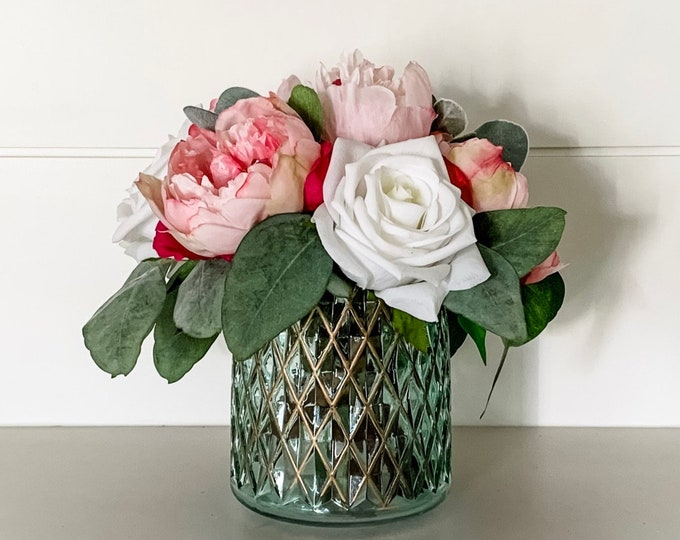 Faux Peony and Rose Floral Arrangement