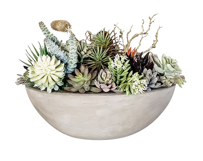 Faux Succulents in Gray Concrete Boat