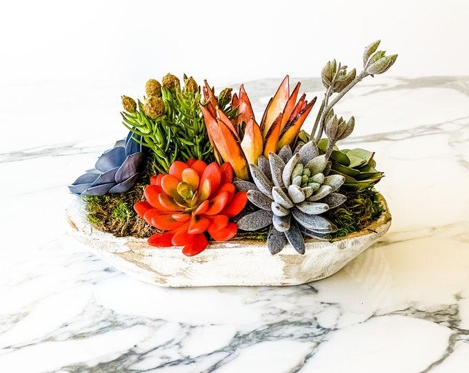 Faux Succulents in Mini Dough Bowl