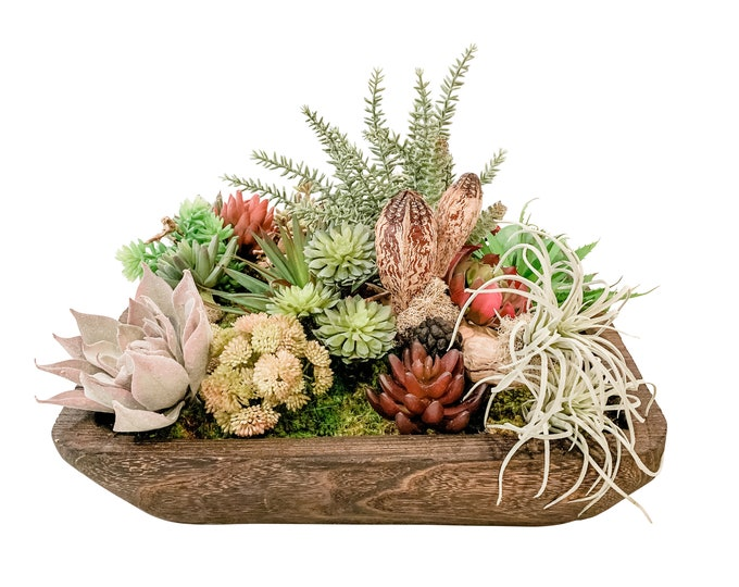 Faux Succulents in a Square Wood Container