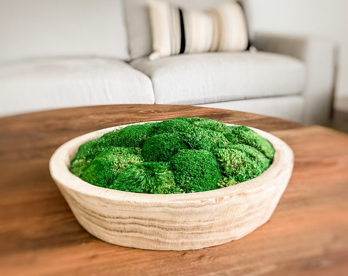 """Decorative Preserved Moss in a 16"""" Round Sedona Wood Bowl"""