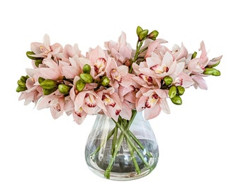 Nine Artificial, Real Touch, Cymbidium Orchid Arrangement in a Clear Glass Vase, Set in Water Illusion