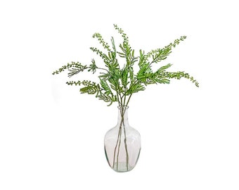 Four Faux, Artificial, Realistic, Green Poke Berry Branches in a Clear Glass Apothecary Vase. Easy Foliage Decor.