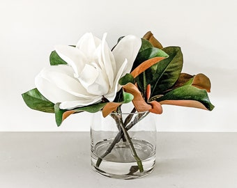 Artificial, Real Touch Magnolia Blooms, Leaves and Bud Arrangement, Clear Glass Cylinder Vase, Set in Water Illusion