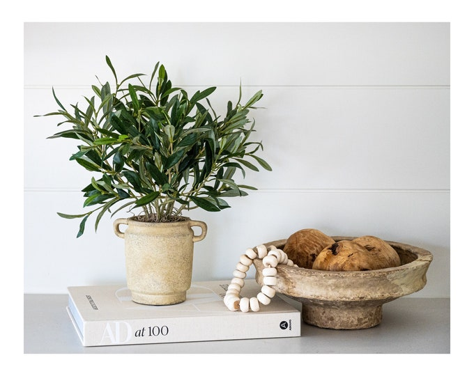 Faux Potted Mini Olive Tree Branches