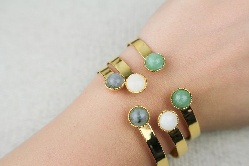 aventurine agate golden with fine gold with natural stones labradoite cuff Bracelet rush