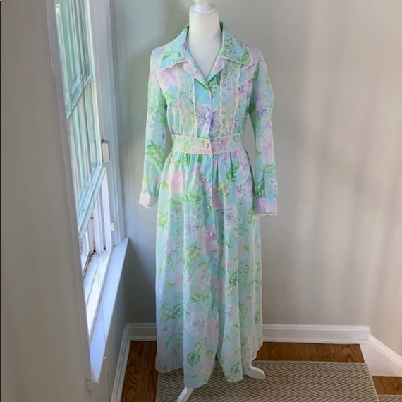 VTG 70s Evelyn Pearson Floral Maxi Housedress