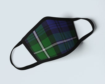 Clan Forbes Tartan Face Mask, Scottish Family Heritage Face Covering, Celtic Dress Plaid Ancestry Mask