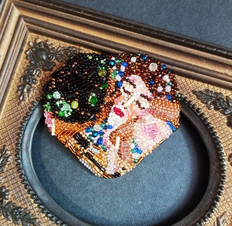 Klimt Brooch beads.Embroidered brooch kiss.