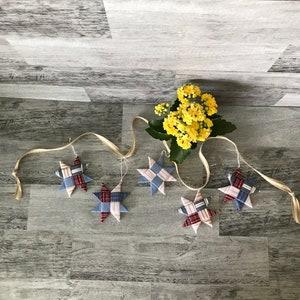 Star Ornament Fabric Star Scandinavian Star Teacher Gift Gift Tag Home Decor Fabric Star Patriotic Star Origami Star