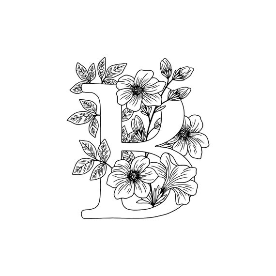 Floral Coloring Pages Letter B Colouring Page Print Etsy