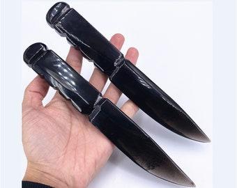 1pc Natural Obsidian Knife,Crystal quartz dagger,Crystal dagger,Healing knife,Crystal knife,Crystal swordrose ,Home decoration,Reiki Healing