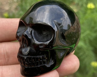 """TOP 2/"""" Natural obsidian Snoopy Carved Quartz Crystal Skull Healing sculpture 1pc"""